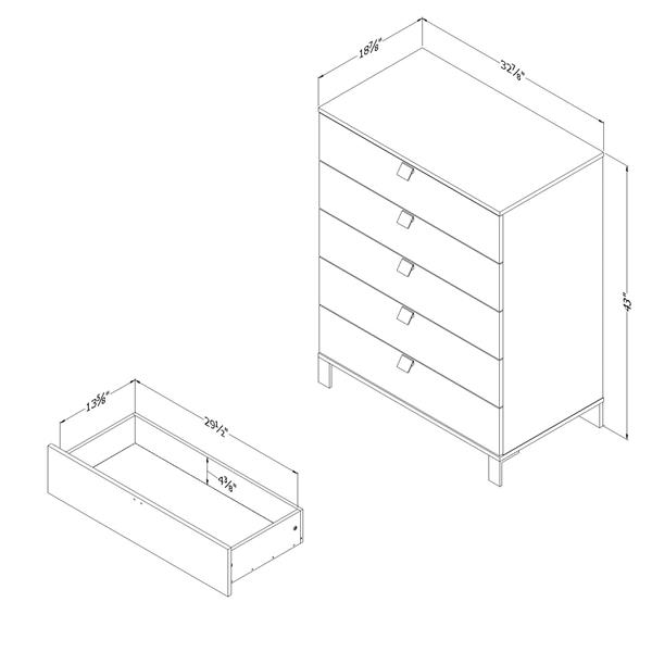 South Shore Furniture Spark 5 Drawer Chest