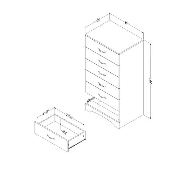 Commode à 6 tiroirs Step One