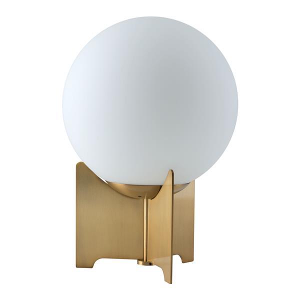 """Lampe de Table Pearl, Bronze brossé et Blanc, 14.4""""x9.8"""""""
