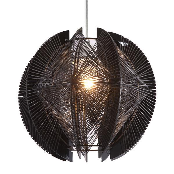 """Luminaire suspendu Centari, Noir, 11""""x39.4"""""""