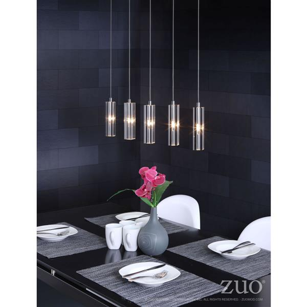 Zuo Modern Celeron Pendant Light - 39.4-in - Clear/White