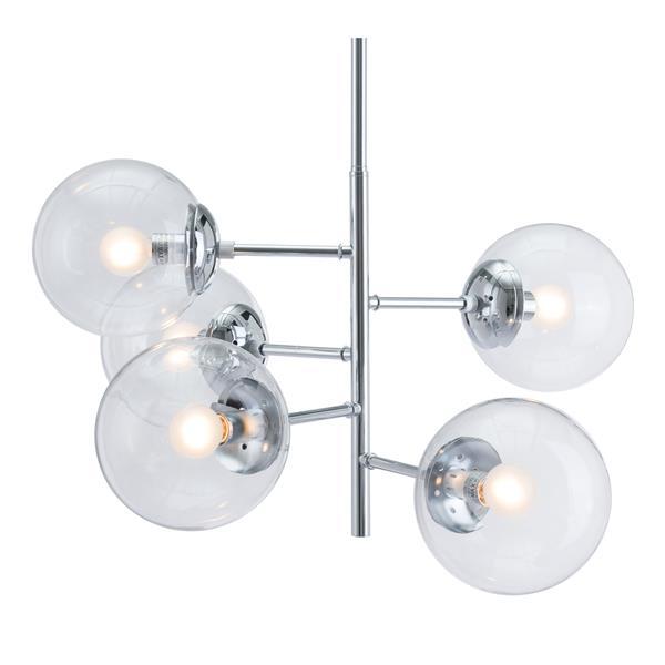 Zuo Modern Somerest Pendant Light - 5-Light - 25.6-in x 63.8-in - Chrome