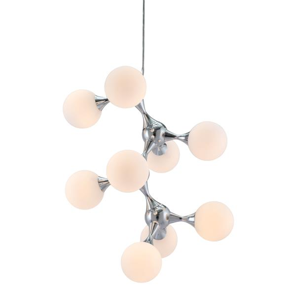 Zuo Modern Pomegranate Pendant Light - 21.7-in x 142.5-in - White and Chrome