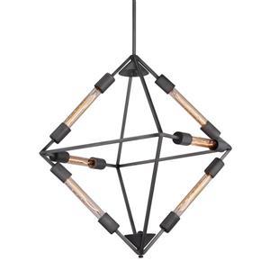 Zuo Modern Union Pendant Light - 6-Light - 26.2-in x 75.6-in - Rusty Black