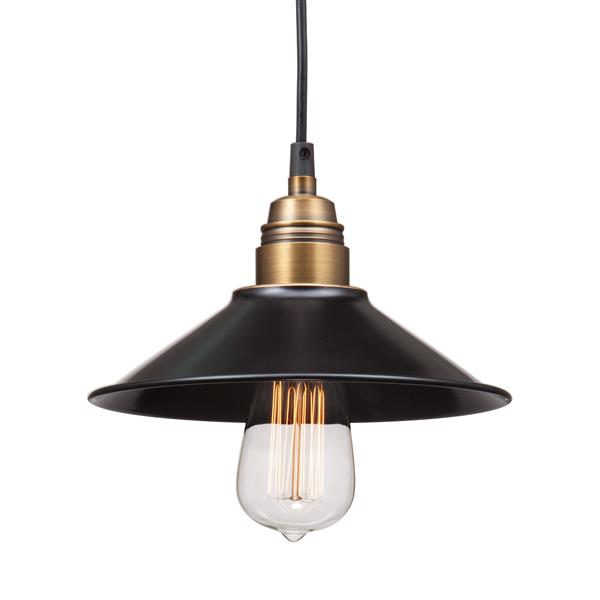 "Luminaire Amarillite, Noir et Cuivre, 8.9""X60"""