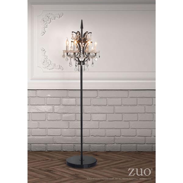 """Lampe sur pied Phoenix, noir et cristal clair, 70"""""""