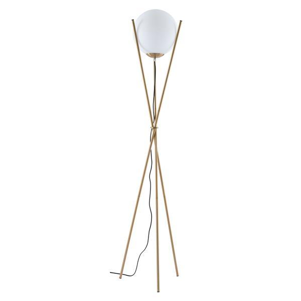 Zuo Modern Antwerp Floor Lamp - 70.5-in x 11.8-in - White - Brushed Brass