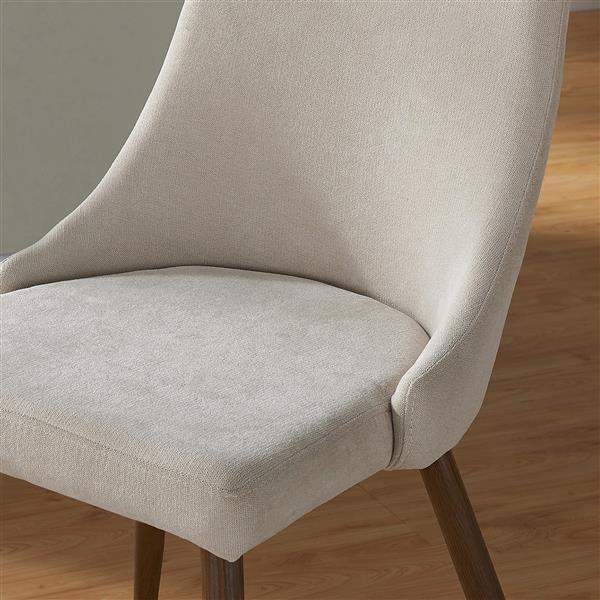Chaise en tissu, ens. de 2, blanc cassé