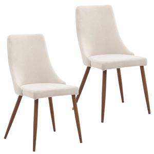 Worldwide Home Furnishings Off-White 22.75-in X 35.75-in Fabric Side Chair Set of 2