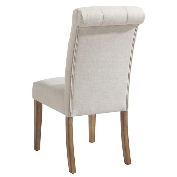 Worldwide Home Furnishings Off-White Linen Tufted Side Chair (Set of 2)
