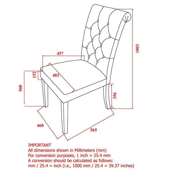 Chaise capitonné en lin, ens. de 2, gris