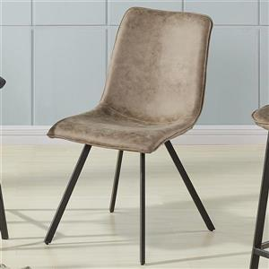 Worldwide Home Furnishings !nspire Brown Faux Suede Metal Side Chair (Set of 2)