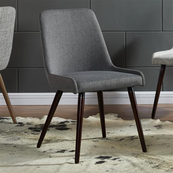 Worldwide Home Furnishings !nspire Fabric Grey Side Chair (Set of 2)