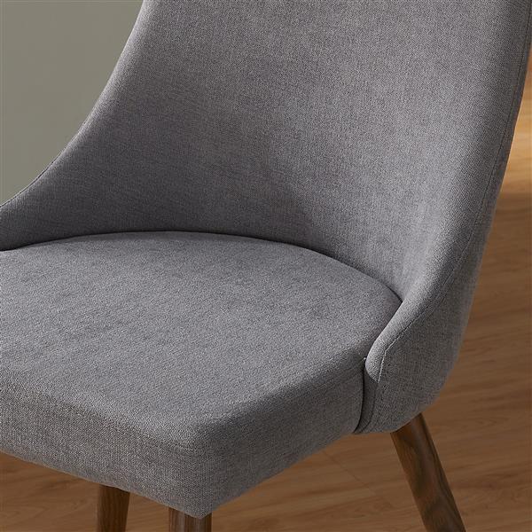 Chaise en tissu, ens. de 2, gris