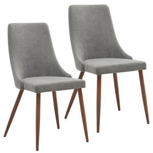 Worldwide Home Furnishings Grey 22.75-in X 35.75-in Fabric Side Chair Set of 2