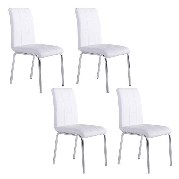 Chaise en similicuir, ens. de 4, blanc