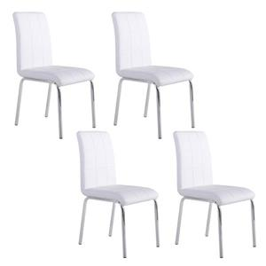 Worldwide Home Furnishings White Faux Leather Dining Chair (Set of 4)