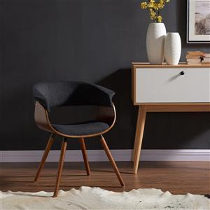 Worldwide Home Furnishings !nspire Grey Mid Century Fabric and Bentwood Accent Chair