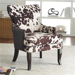 Worldwide Home Furnishings !nspire  Brown Faux Cowhide Fabric with Stud Detail Accent Chair