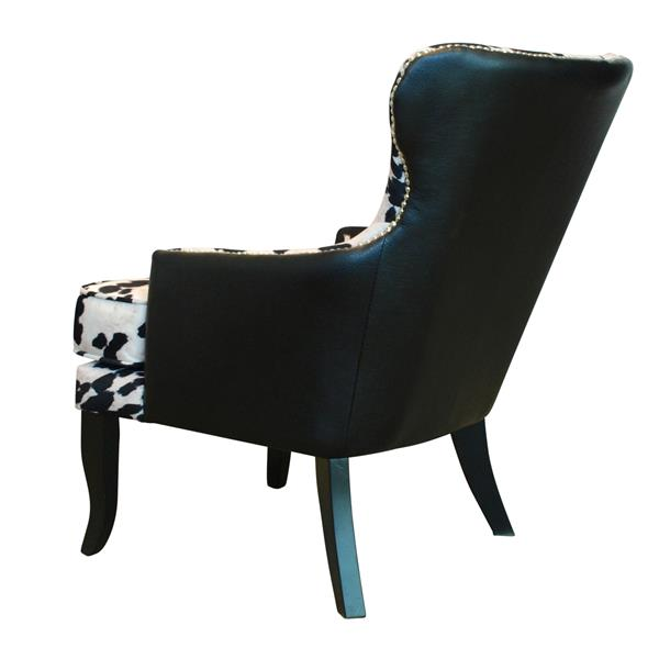 Worldwide Home Furnishings !nspire  Black Faux Cowhide Fabric with Stud Detail Accent Chair