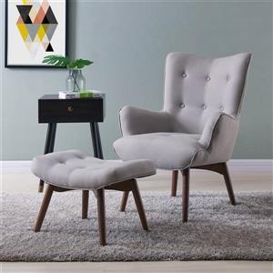 Worldwide Home Furnishings !nspire Light Grey Shane Accent Chair with Ottoman (Set of 2)