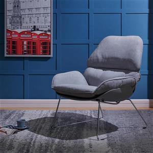 Worldwide Home Furninshings !nspire Dark Gray Velvet Finn Accent Chair