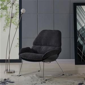 Worldwide Home Furninshings !nspire Charcoal Velvet Finn Accent Chair