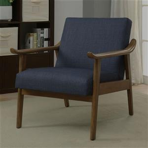 Worldwide Home Furninshings !nspire Blue Linen Taylor Accent Chair
