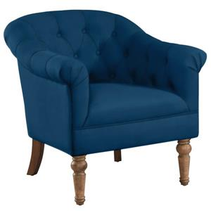 Worldwide Home Furnishings !nspire Blue Velvet Welbeck Tuffed Arm Chair