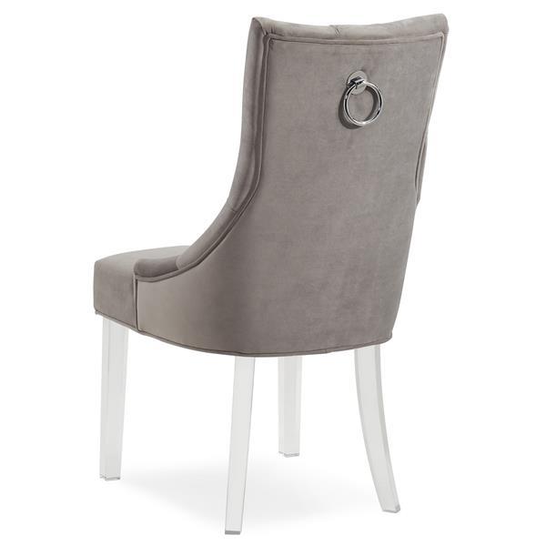Worldwide Home Furnishings !nspire Grey Velvet Crystal Studded Accent Chair