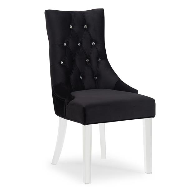 Worldwide Home Furnishings !nspire Black Velvet Crystal Studded Accent Chair