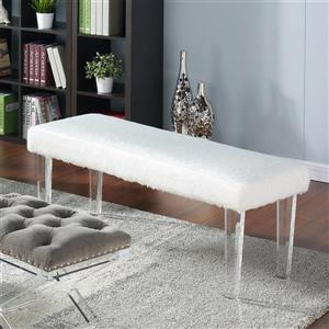 !nspire Faux Fur Double Bench - White