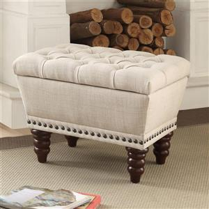 Worldwide Home Furnishings !nspire 22-in Off-White/Brown Tufted Linen Fabric Single Storage Indoor Bench