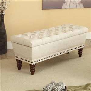 Worldwide Home Furnishings !nspire 42.25-in Off-White/Brown Tufted Linen Fabric Double Storage Indoor Bench