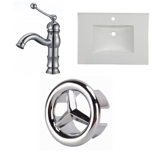 American Imaginations Flair 30.75 x 22.25-in White Ceramic Single Hole Vanity Top Set Chrome Bathroom Faucet and Overflow Cap