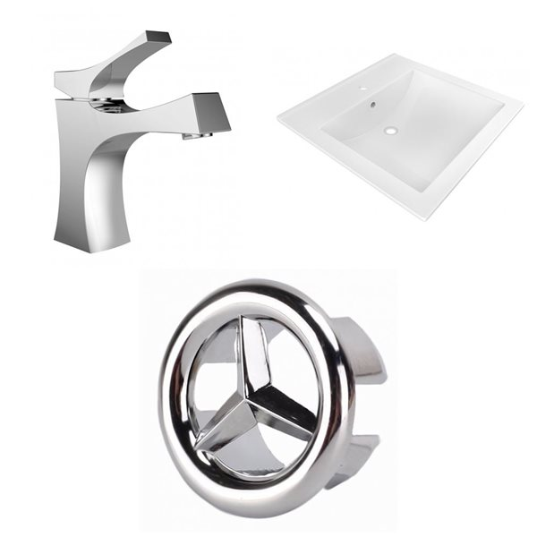 American Imaginations 21.5-in x 18.5-in White Ceramic Vanity Top Set Single Hole Chrome Bathroom Faucet Overflow Cap