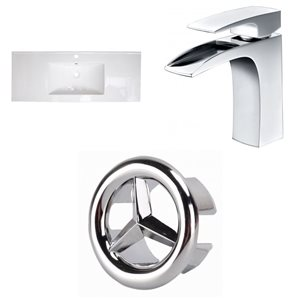 American Imaginations Flair 48.75 x 22-in White Ceramic Single Holed Vanity Top Set Chrome Bathroom Faucet and Overflow Cap