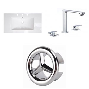 American Imaginations Flair 36.75 x 22.25-in White Ceramic Widespread Vanity Top Set Chrome Bathroom Faucet and Overflow Cap