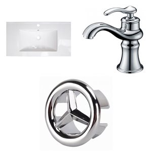 American Imaginations Flair 36.75-in x 22.5-in White Singlehole Ceramic Top Set With Chrome Faucet And Overflow Cap