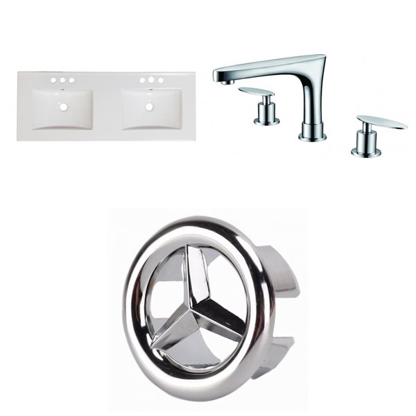American Imaginations 59-in x 18-in White Ceramic Xena 2 Sinks Vanity Top Set with Chrome Faucets and Overflow Caps