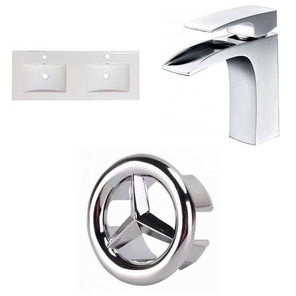 """Dessus en céramique Xena, 59"""" x 18"""", 2 lavabos, blanc"""
