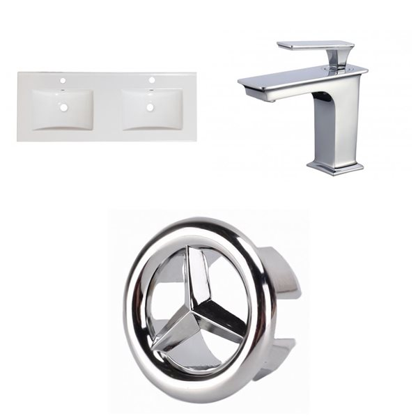 American Imaginations Xena 2 Sinks 48x18,25-in White Ceramic Single Hole Vanity Top Chrome Bathroom Faucet and Overflow Drain