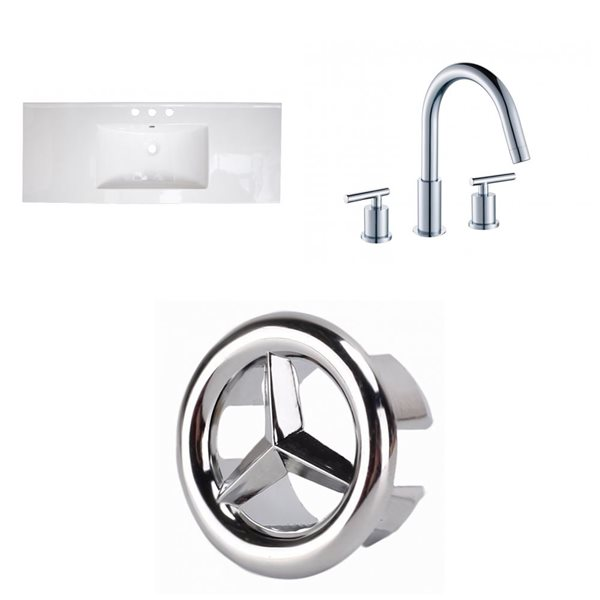 American Imaginations Roxy 48 x 18.5-in White Ceramic Widespread Vanity Top Set Chrome Bathroom Faucet and Overflow Cap