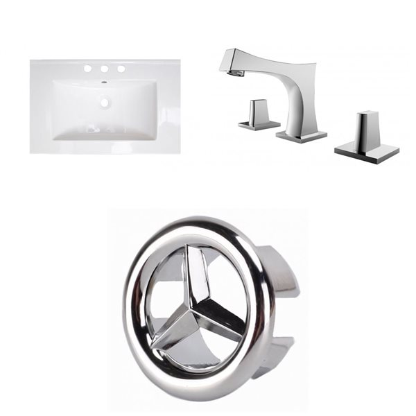 American Imaginations Roxy 24.25-in x 18.25-in White Ceramic Top Set with Chrome Faucet and Overflow Cap