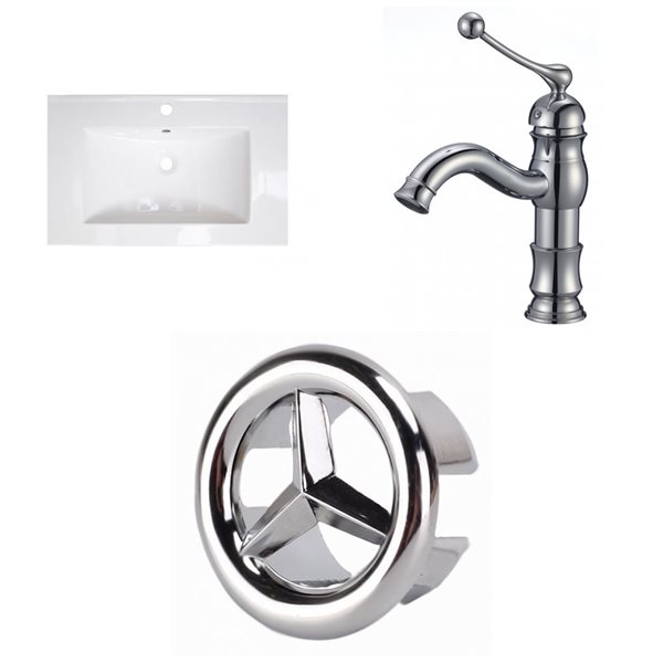 American Imaginations Roxy 24.25-in x 18.25-in White Ceramic Top Set with Chrome Faucet and Overflow Cap Single Hole