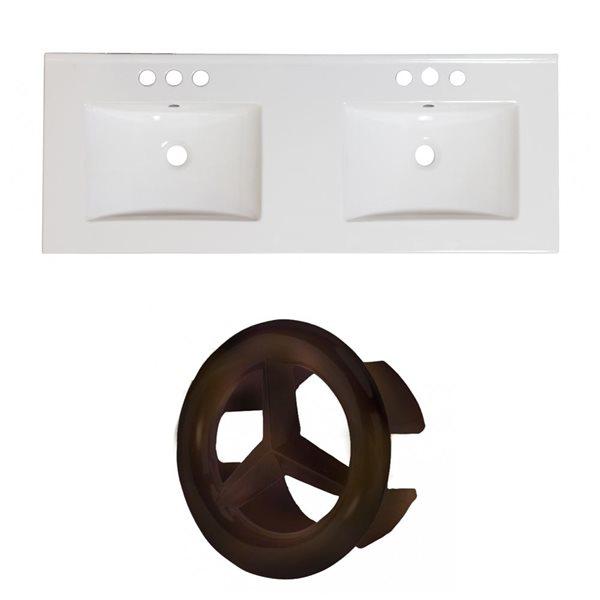"""Dessus en céramique Xena, 59"""" x 18"""", 4 po centré, blanc"""