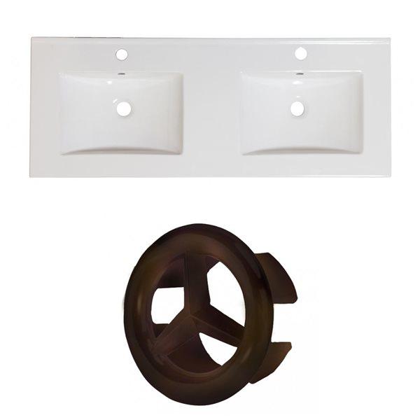 """Dessus en céramique Xena, 48"""" x 18,25"""", 1 trou, blanc"""