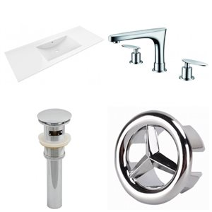 American Imaginations Roxy Widespread 48- in x 18.5- in White Ceramic Top Set With Chrome Overflow Cap, Drain and Faucet