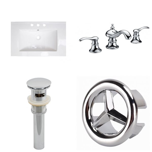 American Imaginations Flair 23.75x18.25-in White Ceramic Vanity Top Widespread Chrome Bathroom Faucet  Sink Drain Overflow Cap