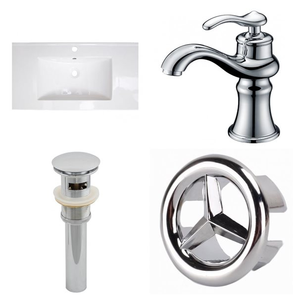 American Imaginations Flair 32-in x 18.25-in White Singlehole Ceramic Top Set With Chrome Overflow Cap Faucet and Sink Drain
